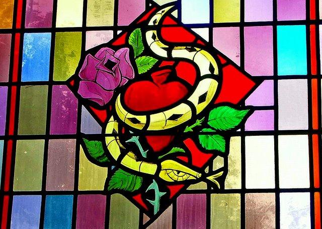 Snake and Rose. Catholic Church, Estevan SK. Rault, France 1950s